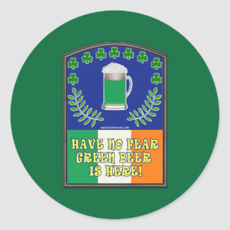 Green Irish Beer is Here Classic Round Sticker