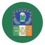 Green Irish Beer is Here Round Sticker