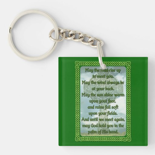 Green Irish Blessing Double-Sided Square Acrylic Keychain
