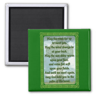 Green Irish Blessing 2 Inch Square Magnet