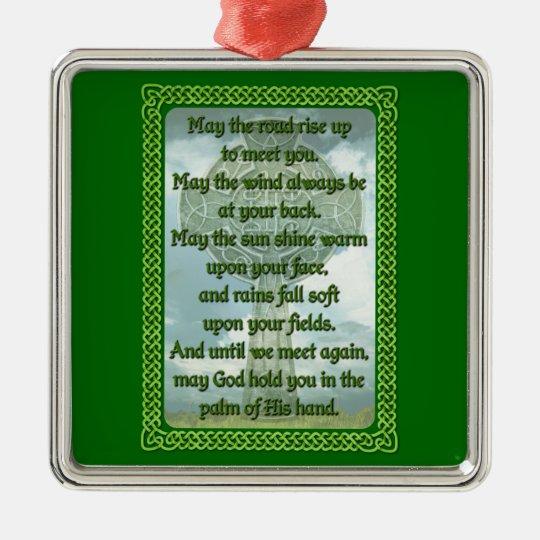 Green Irish Blessing Metal Ornament