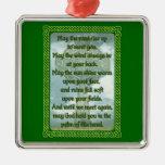 Green Irish Blessing Square Metal Christmas Ornament
