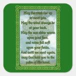 Green Irish Blessing Square Sticker