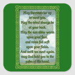 Green Irish Blessing Square Stickers