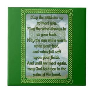 Green Irish Blessing Tile
