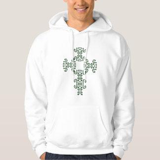 Green Irish Celtic Cross Hoodie Sweatshirt
