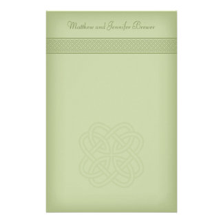 Green Irish Celtic Knot Personalized Stationary Stationery