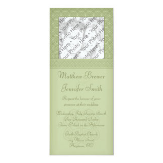 "Green Irish Celtic Knot Photo Wedding Invitation 4"" X 9.25"" Invitation Card"
