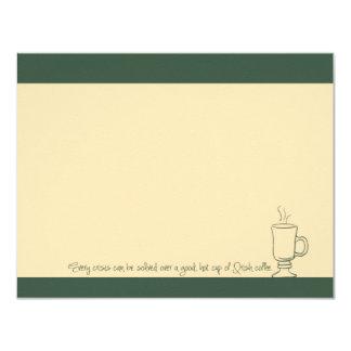 "Green Irish Coffee Cup Note Cards 4.25"" X 5.5"" Invitation Card"