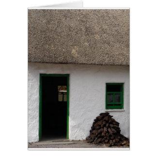 Green Irish Cottage Greeting Cards