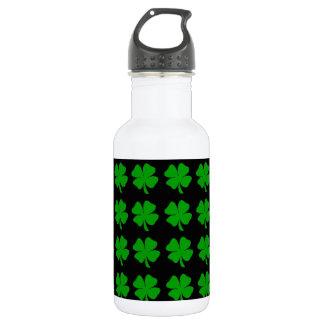 Green Irish Four Leaf Clover design - Medium Stainless Steel Water Bottle