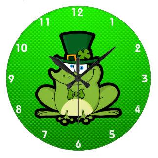 Green Irish Frog Large Clock