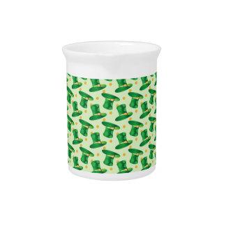 Green Irish Hat pattern , st patrick's day design Drink Pitcher