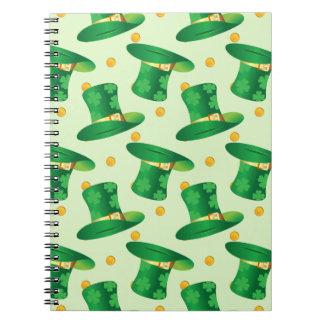 Green Irish Hat pattern , st patrick's day design Spiral Notebook