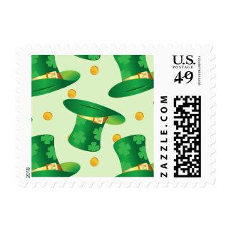 Green Irish Hat pattern , st patrick's day design Stamp
