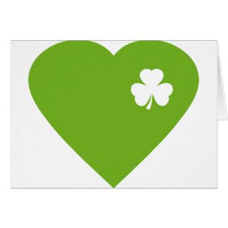 green irish heart greeting card