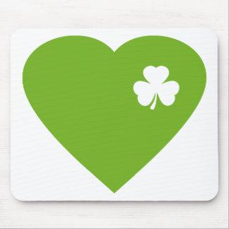 green irish heart mouse pad
