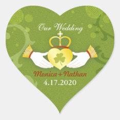 Green Irish Heart Shape Wedding Invitation Heart Sticker at Zazzle