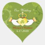 Green Irish Heart Shape Wedding Invitation Sticker