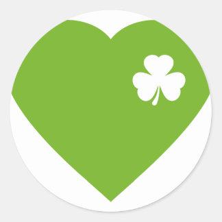 green irish heart classic round sticker