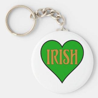 green irish heart with orange letters basic round button keychain
