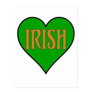 green irish heart with orange letters postcard