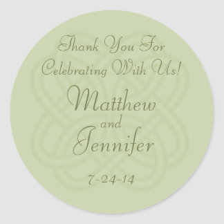 Green Irish Knot Custom Wedding Favor Labels