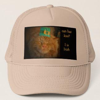 Green Irish Orange Cat wants kiss Trucker Hat