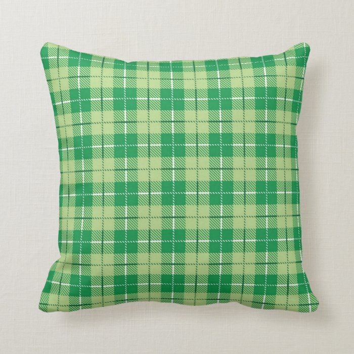 Green Plaid Throw Pillow : Green Irish Plaid Throw Pillow Zazzle