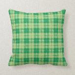 Green Irish Plaid Throw Pillow