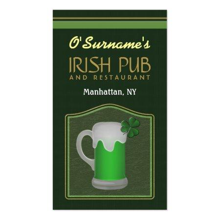 Mug of Green Beer Irish Pub Manager Business Cards