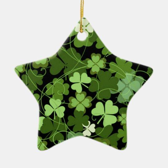 Green Irish Shamrock Ceramic Ornament