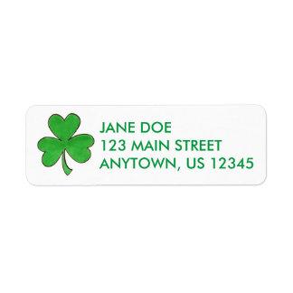 Green Irish Shamrock Clover Lucky Address Labels