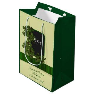 Wedding Gift Bags Ireland : Green Irish shamrock personalized wedding Medium Gift Bag