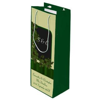 Wedding Gift Bags Ireland : Green Irish shamrock personalized wedding Wine Gift Bag