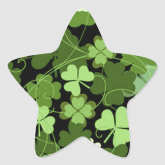 Green Irish Shamrock Star Stickers