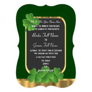 Green Irish shamrock wedding Card