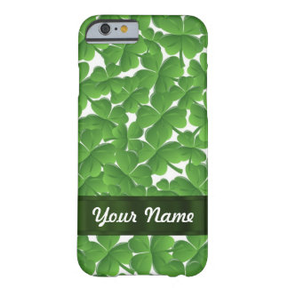 Green Irish shamrocks personalized Barely There iPhone 6 Case