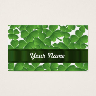 Green Irish shamrocks personalized Business Card
