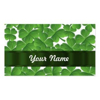 Green Irish shamrocks personalized Business Card Template