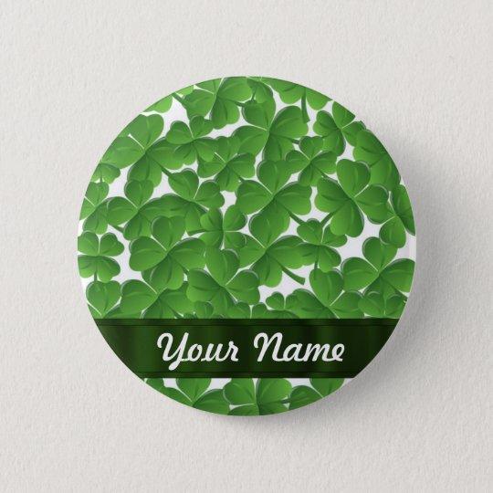 Green Irish shamrocks personalized Button