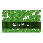 Green Irish shamrocks personalized Double-Sided Standard Business Cards (Pack Of 100)