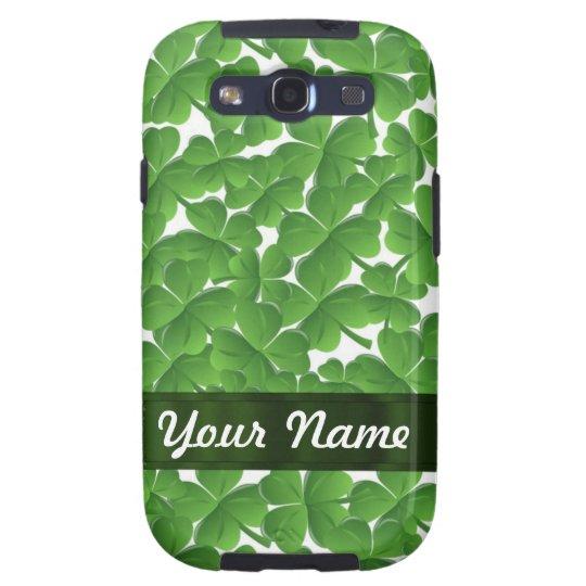 Green Irish shamrocks personalized Galaxy S3 Case