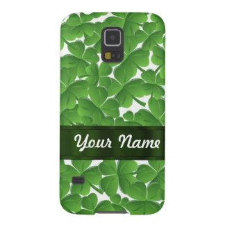 Green Irish shamrocks personalized Galaxy S5 Cases