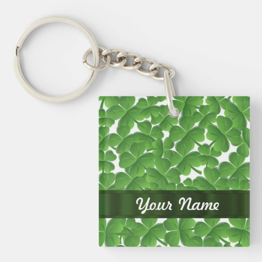 Green Irish shamrocks personalized Keychain