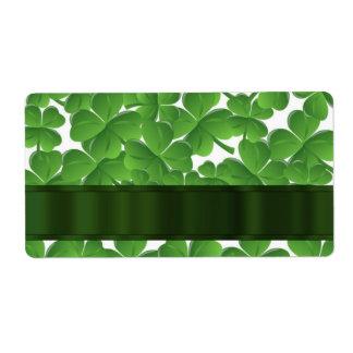 Green Irish shamrocks personalized Personalized Shipping Labels