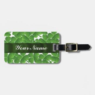 Green Irish shamrocks personalized Tag For Luggage