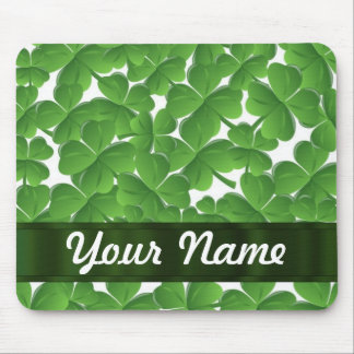 Green Irish shamrocks personalized Mouse Pad