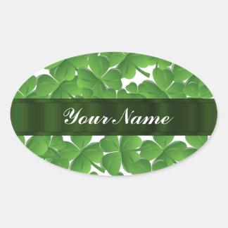 Green Irish shamrocks personalized Oval Sticker