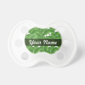 Green Irish shamrocks personalized Pacifier